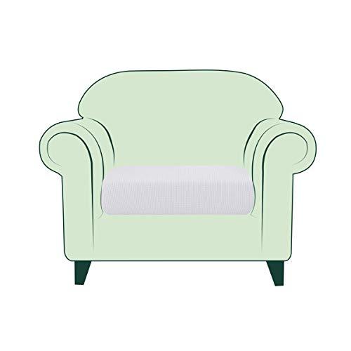 CHUN YI Copricuscino Divano Elasticizzato Copriseduta Protezione Cuscino del Divano per 1 Posto Sedia, Tessuto Jacquard Spandex Fodera per Cuscino (Sedia, Bianca)
