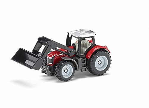 SIKU 1484, Trattore Massey Ferguson con Caricatore Frontale, Metallo/Plastica, Rosso/Nero, Caricatore Frontale Mobile
