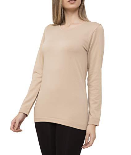 Camiseta Interior Térmica Licra Manga Larga Mujer Cuello Redondo Sin Costuras Seamless Colores Lisos (Visón, XL/XXL)