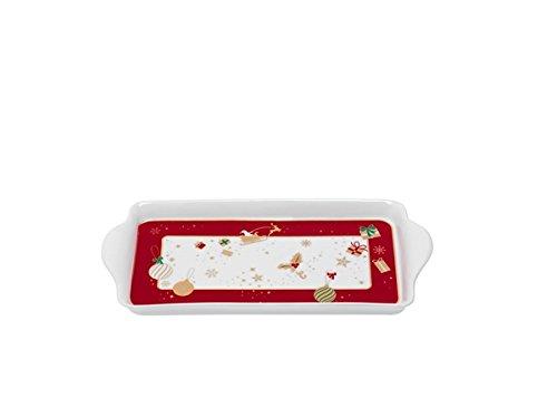 Brandani 53035 Alleluia Vassoio Piccolo, Porcellana, Rosso E Bianco