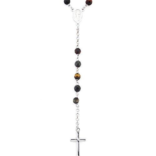 Amen Collana In Argento 925 Collezione Rosari - Colore Rodio - Misura Unica Rosario Classico Occhio Di Tigre