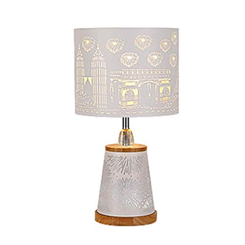 HtapsG Lámpara Escritorio Lámpara de Mesa Moderna y Simple de Moda, lámpara de Mesa LED con Grabado de Hierro, lámpara de Mesa para Sala de Estar, Dormitorio, 25 * 48 cm
