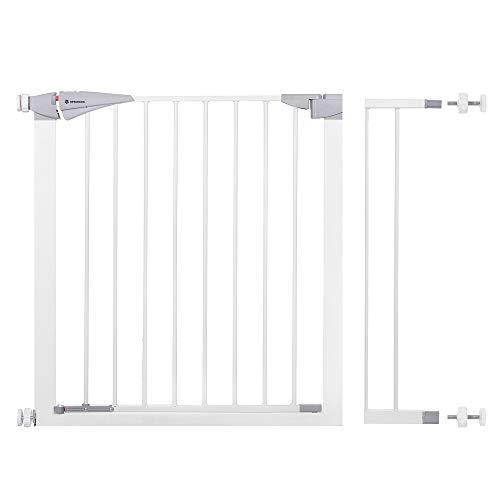 Springos Barrera de seguridad para puertas de bebé, ancho ajustable de 77 a 84 cm, color blanco