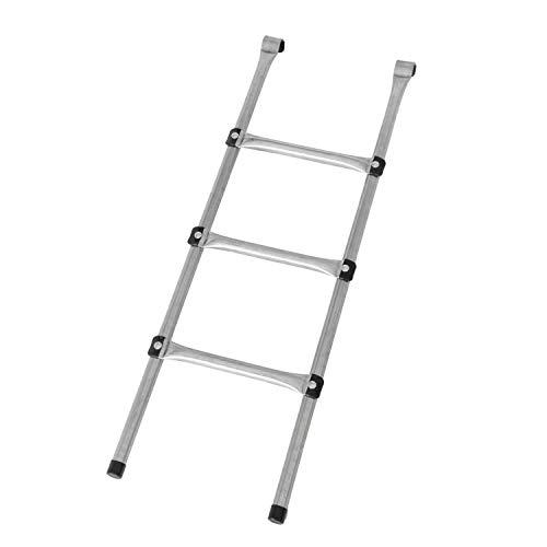 MotionXperts Trampolin Leiter 97 cm lang, Treppe mit 3 Stufen, praktischer Einstieg für große Gartentrampoline, Silber