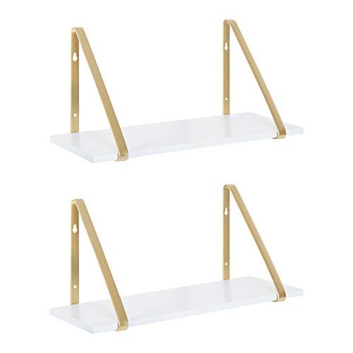 Imperative Décor Rustic Wood Floating Shelves Wall Mounted Storage Shelf with L Brackets USA Handmade| Set of 2 (Dark Walnut, 24