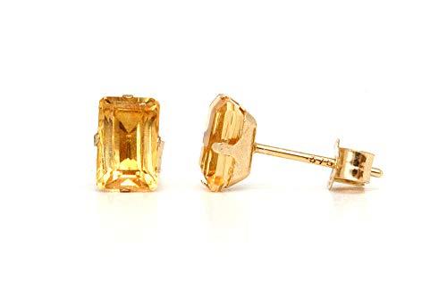 Hängeohrringe, 9 Kt Gold, Citrin (Smaragdschliff) Madeira Ohrstecker