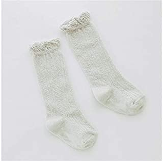Lovely Socks 3 Pairs Children Cotton Mesh Socks Kids Summer Lace Long Tube Socks(Pure White) Newborn Sock (Color : Grey)