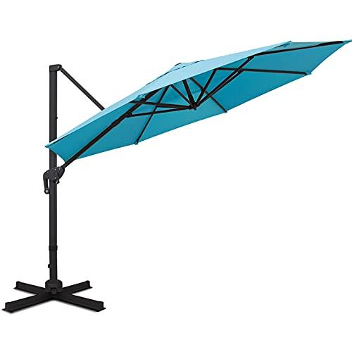 Sunnyglade 11FT Cantilever Patio Umbrella Round Deluxe Offset Umbrella 360°Rotation & Integrated Tilting System Heavy Duty Patio Hanging Umbrella for Market Garden Deck Pool Backyard Patio (Blue)