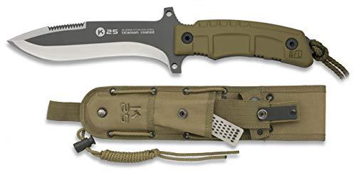Cuchillo K25 Coyote Titanio Hoja 14,9 para Caza, Pesca, Camping, Outdo