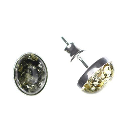 Ovale grüne Ohrringe mit Bernstein, Ohrstecker, gefasst in 925/000 Sterling Silber von Artisana-Schmuck