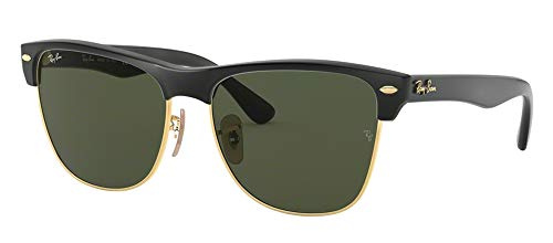 Ray-Ban RB4175 CLUBMASTER OVERSIZED 877 57M Demishiny Black/Arista/Crystal Green Sunglasses For Men For Women