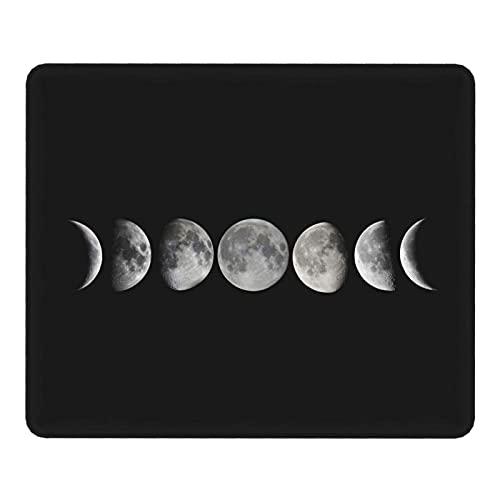 Alfombrilla de ratón Phases of The Moon con Base de Goma Antideslizante Alfombrilla de ratón con Bordes cosidos 25X30CM