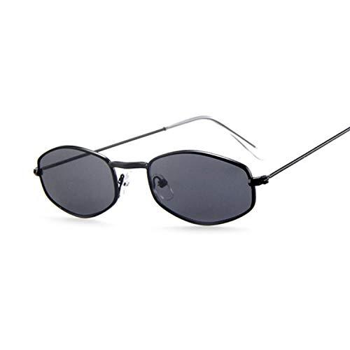 LONG Kleine Sechskant-Sonnenbrille Frauen Retro Metallrahmen Gelb Rot Vintage Tiny Square Weibliche Sonnenbrille UV400-Schwarzgrau