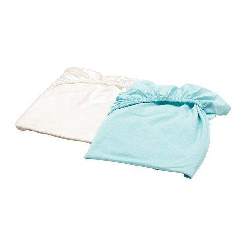 IKEA LEN Spannbettlaken für Babybett; in weiß und türkis; 100% Baumwolle; (60x120cm); 2 Stück