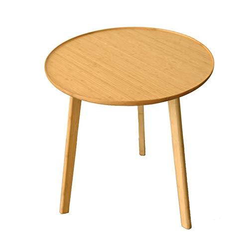 Jcnfa-Tische Moderner Kaffee-Beistelltisch , Home Office Freizeit Runder Bambustisch , DIY Montagebeine (Color : Bamboo, Size : 19.68 * 19.68 * 20.27in)
