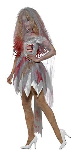 SMIFFYS Costume deluxe sposa zombie, Grigio, con vestito, ferita alla costola in lattice