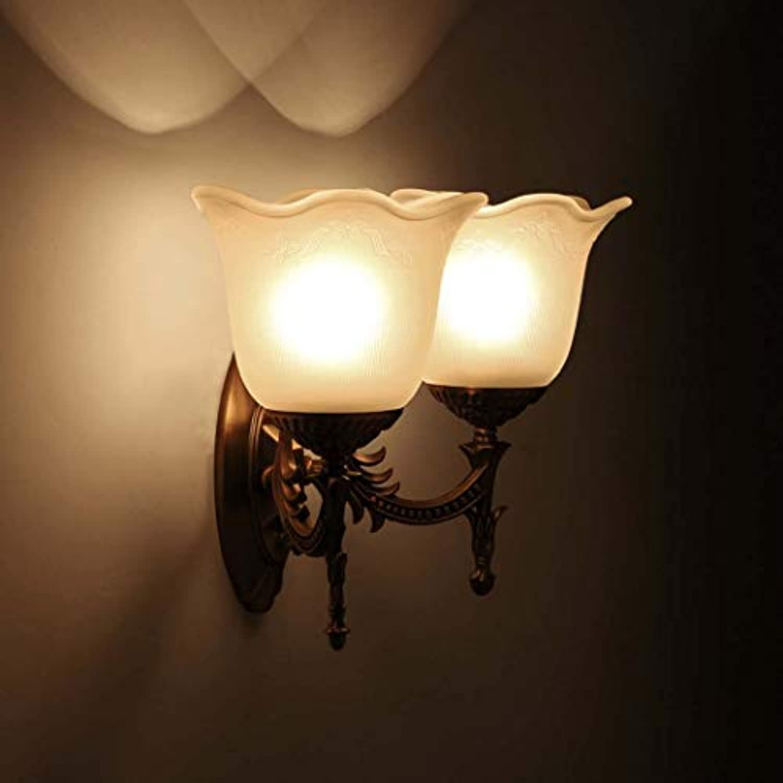 DSHBB Wandleuchten Aus Glas, Moderne Wandleuchte Weie Wandleuchte Up Licht Nachtlampe Für Wohnzimmer, Schlafzimmer, Flur, Badezimmer Dekorative Warme Weie Wand-Waschlichter (Farbe   Doppelter Kopf)