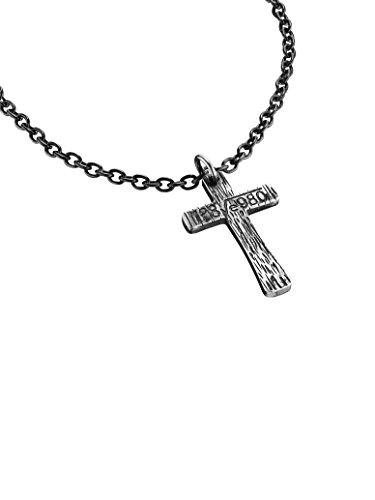 Antiguo acero Cruz colgante, collar de policía secreta de hombre IP S14AGP01P de negro