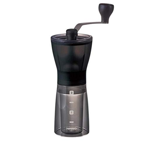 HARIO | Compact & Adjustable Hand Coffee Grinder with Burrs, Transparent Black   | Macinacaffè Manuale Compatto e Regolabile con frese in Ceramica, Nero Trasparente, plastica