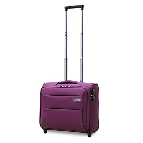 Rolling Briefcase on Wheels, Underseat Business Travel Laptop Tote Bag Softside Rolling Computer Case Spinner Mobile Office Carry On Luggage with Lock for Notebook (Color : Purple, Size : 16inch)