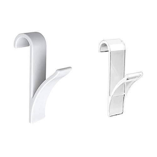 WENKO Gancio scaldasalviette bianco set 2 pezzi, Plastica, 2.5 x 10.5 x 7 cm, Bianco & Gancio scaldasalviette trasparente set 2 pezzi, Plastica, 2.5 x 10.5 x 7 cm, Trasparente