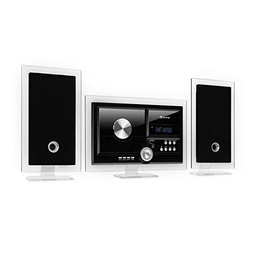 auna Stereo Sonic Dab+ Equipo estéreo- sintonizador de Radio Dab+/FM, Posibilidad de Montaje en una Pared, Interfaz Bluetooth, PuertoUSB, Reproductor de CD, Entrada AUX, Mando a Distancia, Negro