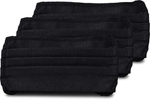 fashionchimp ® 3er-Set Mundschutz-Maske aus 100% Baumwolle, Gesichtsmaske, waschbar, EU-Ware, OEKOTEX (Schwarz)