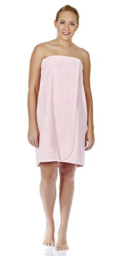 Arus Women's GOTS Certified Organic 100% Turkish Terry Cotton Adjustable Closure Bath Wrap S/M Misty Rose