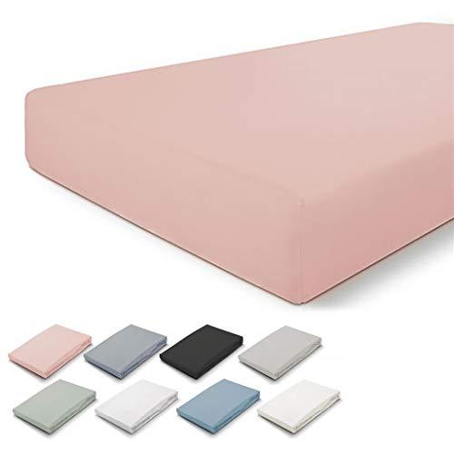 Walra Spannbettlaken 80x200, 100% Baumwolle Spannbetttuch, Perfekte Matratzenpassform, Weiches Gefühl, Knitter- & Bügelfrei - Altes Rosa