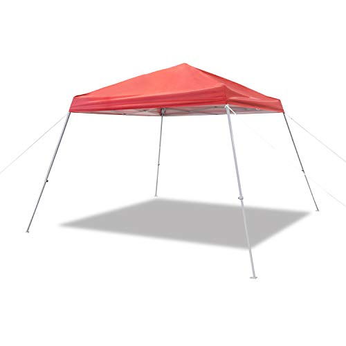 AmazonBasics Outdoor Classic Pop Up Canopy, 8ft x 8ft Top Slant Leg with Wheeled Carry, Red