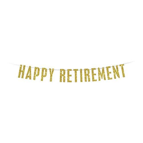 Banner de jubilación feliz banner de oro brillo banner fiesta de jubilación