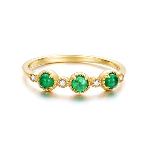 Aeici Alianzas Oro amarillo 18k, Anillos Compromiso Mujer Esmeralda Diamante 1.44ct, Redonda, Talla 6,75