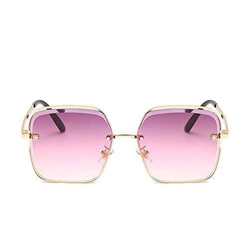 YHKF Gafas De Sol para Mujer Gafas De Sol Cuadradas Mujer Vintage Moda Verano Playa Sombras Gafas Graduadas-Gold_Purple