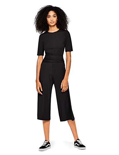 Amazon-Marke: find. Damen Jumpsuit Rib Cropped Jumpsuit_18AMA040, Schwarz (Black), 36, Label: S