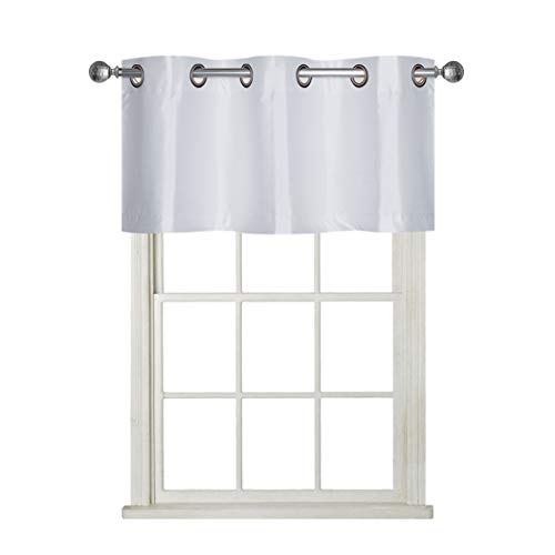 Rama Rose Room Darkening Curtain Valance for Basement, Small Faux Silk Valence for Narrow Window, Set of 1, 37 X 18 Inch, White