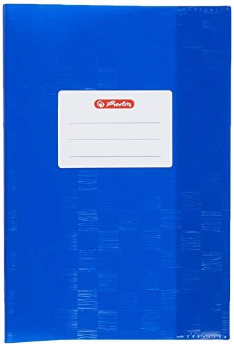 Herlitz 5205042 Heftschoner (DIN A5, geprägt Bast, PP), 1 Stück, dunkelblau