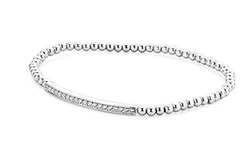 Miore Damen Armreif 925 Sterling Silber Rundschliff Zirkonia Steinchen Silberfarbig