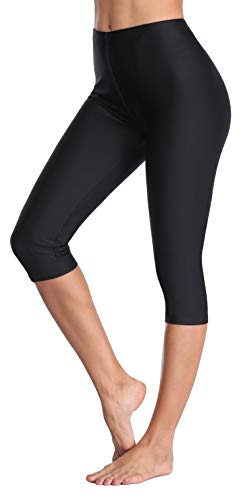 ATTRACO Women Swim Pants Capris UPF 50+ Water Sport Leggings Rash Guard Pants L Black