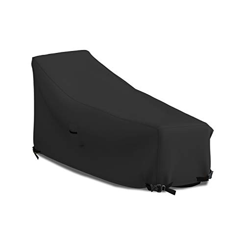 Patio Chaise Lounge Cover 18 Oz Waterproof - 100% UV & Weather Resistant 1000 D PVC Coated Outdoor Furniture Chaise Covers with Air Vents and Drawstring for Snug fit (82W x 57D x 32H, Green)