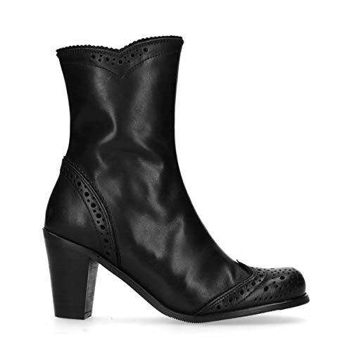 Kurze Schwarze Stiefel mit Lochmuster und Absatzzwart Schwarz