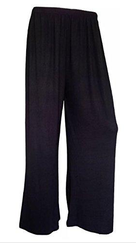Neuf Pour Femmes Jambe Large Bas Évasé Grande Taille Pantalon Palazzos Pantalon Uni 12-30 - Femmes, Noir, XXXL - 52-54