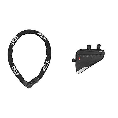 ABUS Fahrradschloss Tresor 1385/85, Black, 85 cm, 48566 & Fahrradtasche ST 2250, Black, 23.5 x 19.5 x 5 cm