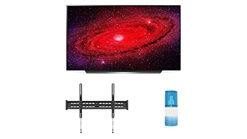 LG OLED65CXP 65' 4K Ultra High Definition Self Lighting Smart OLED AI ThinQ TV with a Walts TV Large/Extra Large Tilt Mount for 43'-90' Compatible TV's and a Walts HDTV Screen Cleaner Kit (2020)