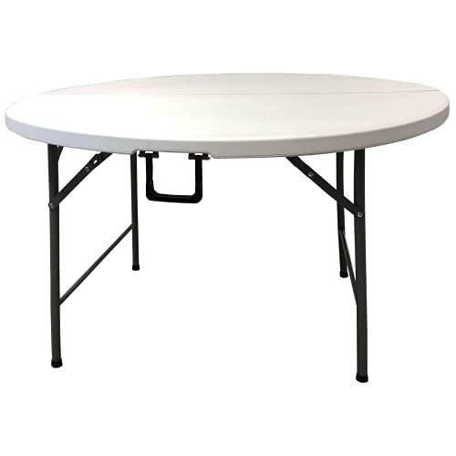 Mesa Plegable Redonda de Resina Multifuncional, para jardín, Camping, reuniones y Catering Color Blanco. 120cmø...