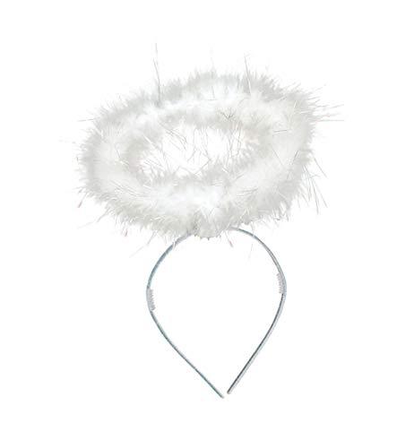 Haarreif Heiligenschein in 2 Federn Halloween Karneval Accessoire (weiß)