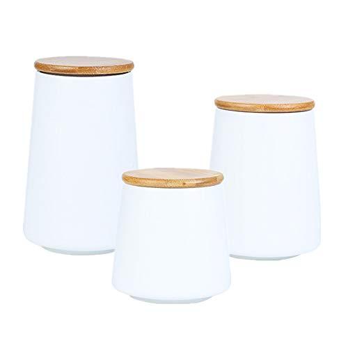 OnePine 3er Set Keramik Vorratsdose mit Luftdichtem Verschluss Bambusdeckel Frischhaltedosen Modernes Design Kegel Aufbewahrungsdosen für Tee Kaffee Bohne Zucker Gewürz Nüsse Korn