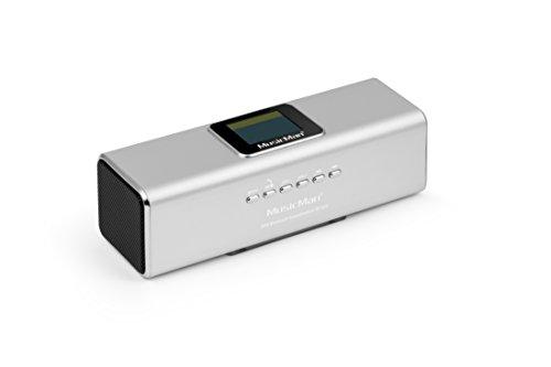 MusicMan 4672 Portabler Bluetooth/DAB Stereolautsprecher BT-X29 mit intergriertem Akku und LCD Display (MP3 Player, Radio, MicroSD Kartenslot,USB Steckplatz) silber