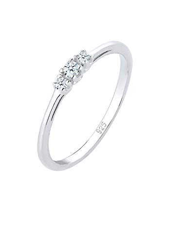Elli PREMIUM Ring Damen Verlobungsring Diamant (0.07 ct.) Zart in 925 Sterling Silber