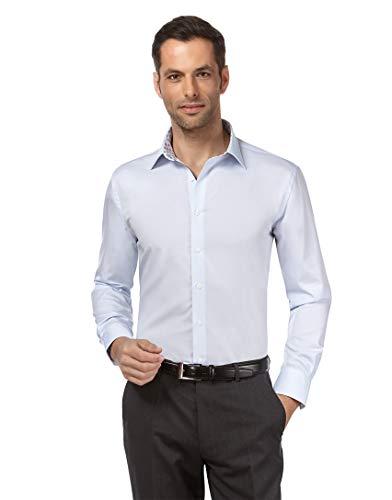 Vincenzo Boretti Herren-Hemd bügelfrei 100% Baumwolle Slim-fit tailliert Uni-Farben - Männer lang-arm Hemden für Anzug Krawatte Business Hochzeit Freizeit eisblau/braun 41-42