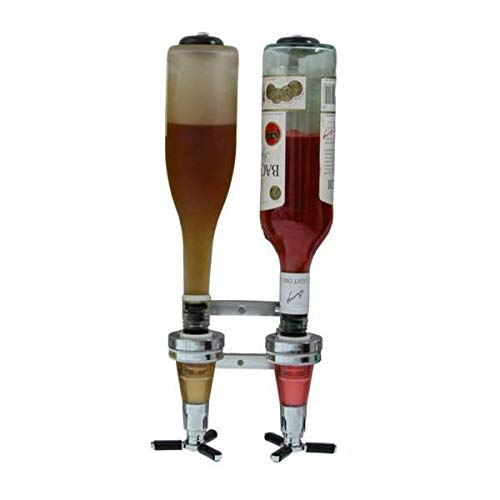 2 Bottle Wall Mounted Liquor Dispenser Bar Butler Bracket Solo Optic Spirit Wine Beer Alcohol Bottle Beverage Stand Revolving Nozzle Drinkware Set